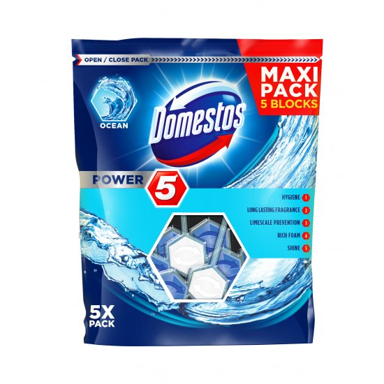 Kostki do WC 5x55g Power 5 zapach morski DOMESTOS