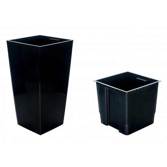 Doniczka Finezja 19 cm czarna LAMELA