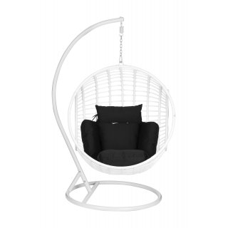 Fotel bujany ogrodowy kokon biały z poduszką