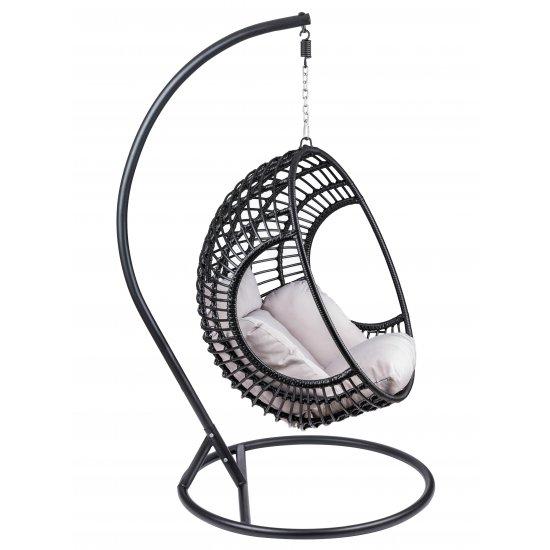 Fotel ogrodowy wiszący bujany kokon czarny poduszki