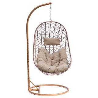 Fotel bujany ogrodowy 189 cm brązowy z szarymi poduszkami