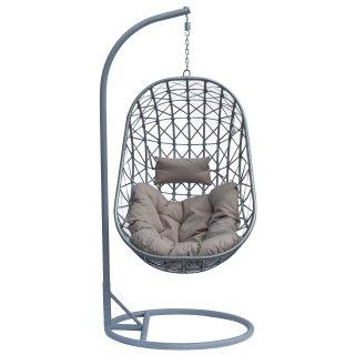 Fotel bujany ogrodowy szary 189 cm z szarymi poduszkami
