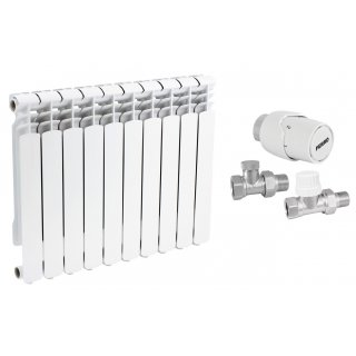 Grzejnik aluminiowy 70 mm 10 szt + zestaw termostatyczny prosty FERRO