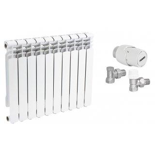 Grzejnik aluminiowy 70 mm 10 szt + zestaw termostatyczny kątowy FERRO
