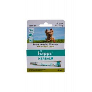 Krople na pchły i kleszcze dla małych psów do 10kg HAPPS Herbal