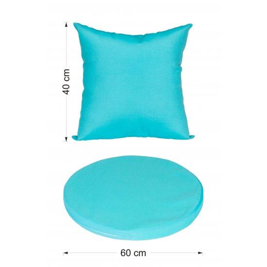 Huśtawka ogrodowa wisząca biała z niebieskimi poduszkami