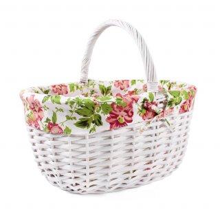 Koszyk z materialem biały 45x35x22 cm TIN TOURS
