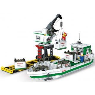 Klocki statek kontenerowy z żurawiem Raben 580 elementów BLOCKI