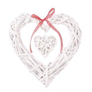 Wiklinowe serce zawieszka biała 25x25x4 cm TIN TOURS