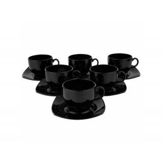 Komplet kawowy Quadrato 220 ml 12-elementowy, czarny LUMINARC