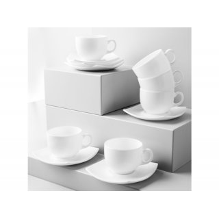Komplet kawowy Quadrato 220 ml 12-elementowy, biały LUMINARC