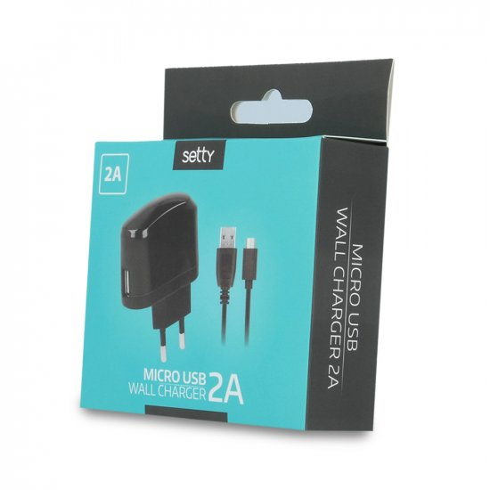 Ładowarka sieciowa SETTY USB 2A + kabel micro USB czarna