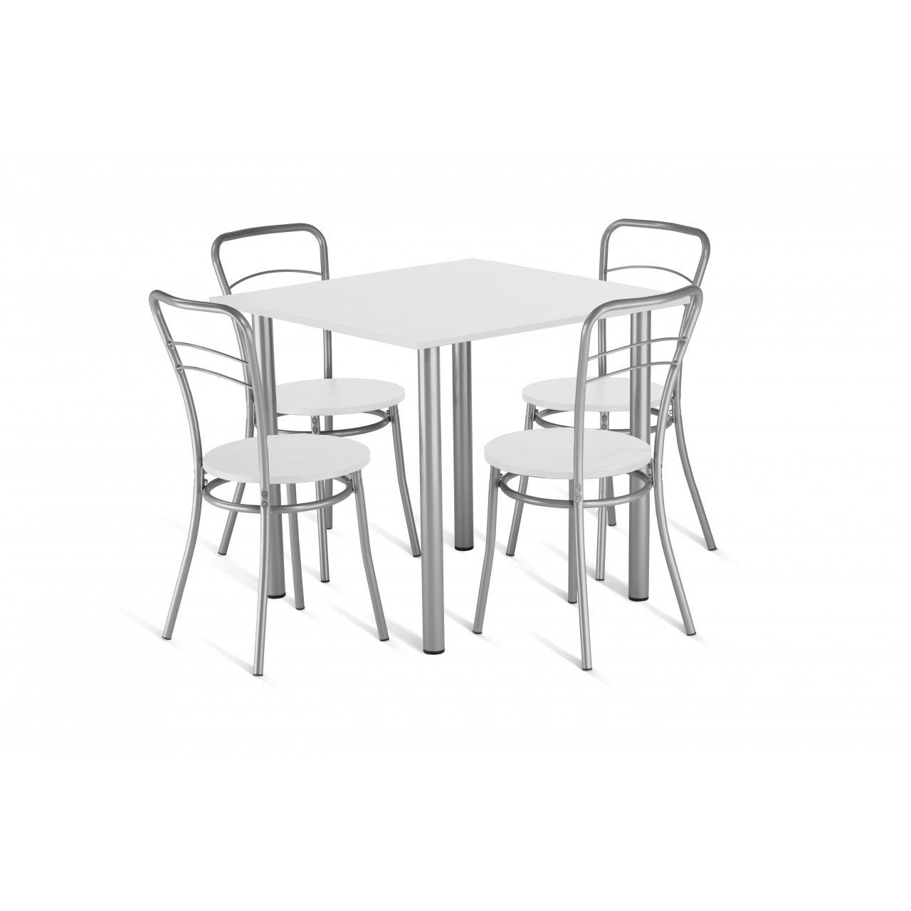 Zestaw Mebli Kuchennych Stol 4 Krzesla 80x80 Cm Bialy W Sklepmrowka Pl