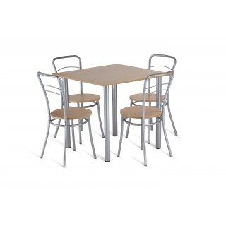 Zestaw mebli kuchennych stół +  4 krzesła 80x80cm dąb sonoma