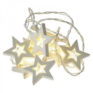 Girlanda LED drewniane gwiazdki 10 szt. 2×AA ciepła biel EMOS