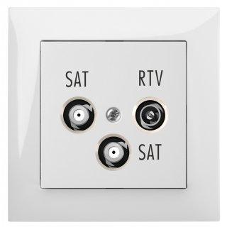Gniazdo podtynkowe R-Tv-2Xsat Końcowe B/R SENTIA