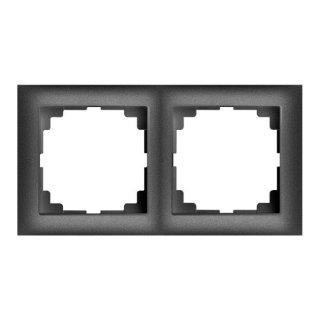 Ramka podwójna czarny metalik SENTIA