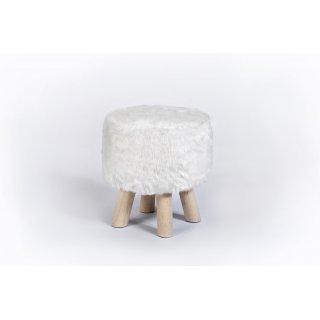 Pufa z futrem Dekora biała TS INTERIOR