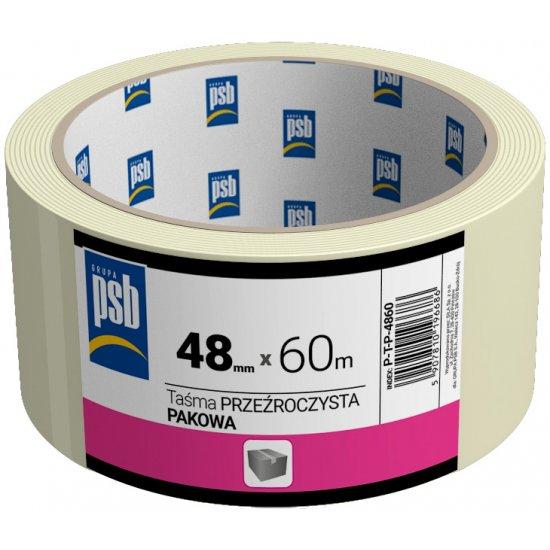 Taśma pakowa przeźroczysta 48 mm x 60 m PSB