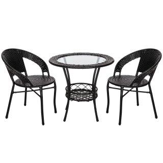 Zestaw mebli ogrodowych z technorattanu stół + 2 krzesła
