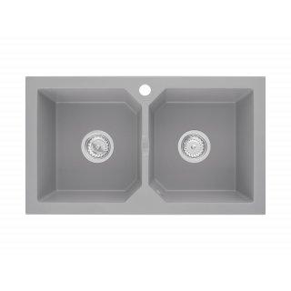 Zlewozmywak kuchenny granitowy 76x44x17 szary MILO