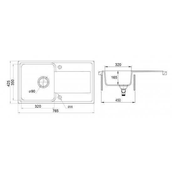 Zlewozmywak Mango 75 cm + Bateria + Syfon LIVENO