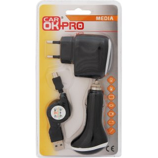 Zestaw ładowarek 12/24/220V Micro USB PROFAST