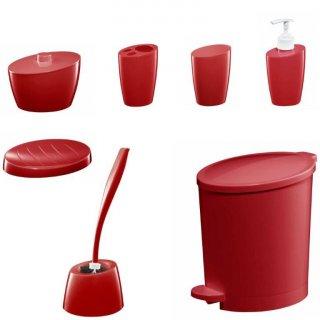 Zestaw 7 akcesoriów łazienkowych czerwony