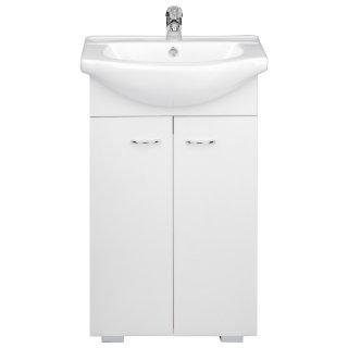 Szafka z umywalką łazienkowa zestaw biały i dąb