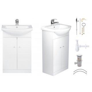 Szafka łazienkowa z umywalką baterią i syfonem 50 cm ELITA