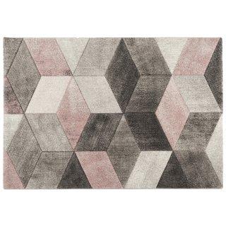 Dywan Diamond 120x170cm geometria szary-róż  MULTI-DECOR