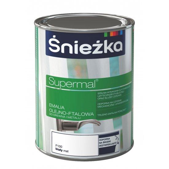 Farba do drewna i metalu Supermal 0,8L matowy biały ŚNIEŻKA