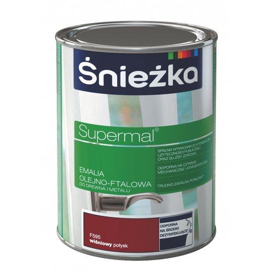 Farba do drewna i metalu Supermal 0,8L wiśniowy ŚNIEŻKA