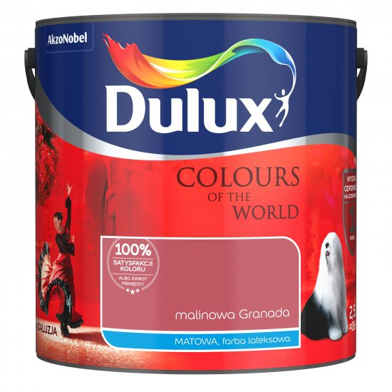 Farba do wnętrz Malinowa Granada 2,5L Kolory świata DULUX