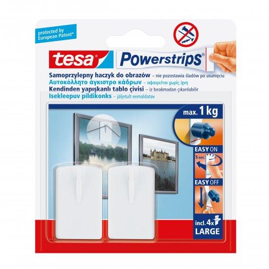 Haczyk samoprzylepny Powerstrips 2 szt. do obrazów, biały TESA