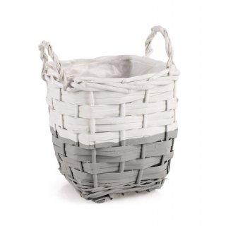 Koszyk do obsadzania z uchwytami 19x16 cm biało-szary TIN TOURS
