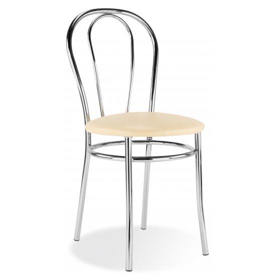 Krzesło kuchenne tapicerowane beż tulipan chrom NOWY STYL