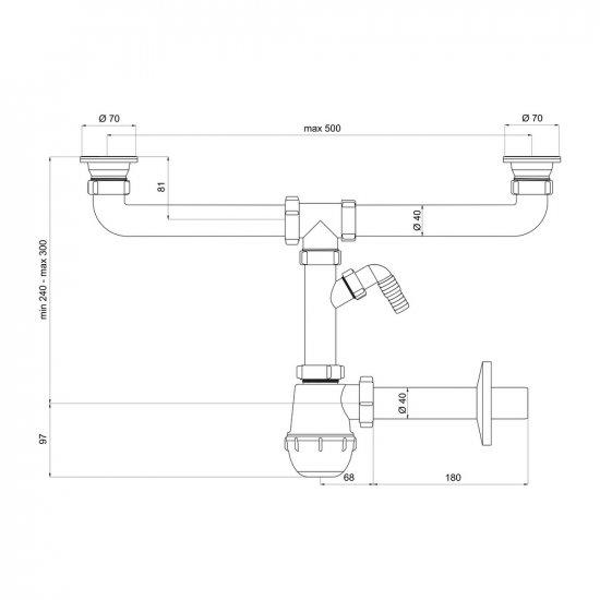 Syfon zlewozmywakowy podwójny z metalowym sitkiem PSB