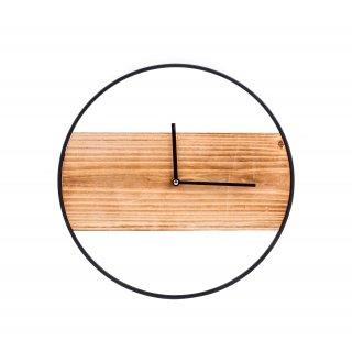 Zegar drewniany z metalem czarny śr.36x3,5cm
