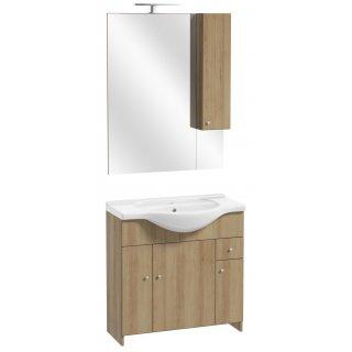 Zestaw szafka z umywalką lustrem i oświetleniem buk truflowy Maro DEFTRANS