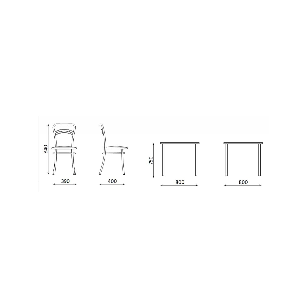 Zestaw Mebli Kuchennych Stol 4 Krzesla 80x80 Cm Buk W Sklepmrowka Pl