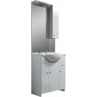 Zestaw szafka z umywalką lustrem i oświetleniem PAPAJA 75 cm