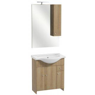 Zestaw szafka z umywalką lustrem i oświetleniem buk truflowy Papaja  DEFTRANS