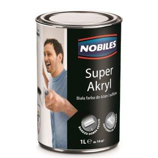 Farba akrylowa biała 1L NOBILES SUPER