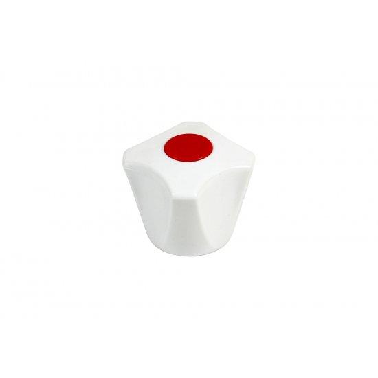 Pokrętło baterii białe z wkładką czerwoną TYCNER