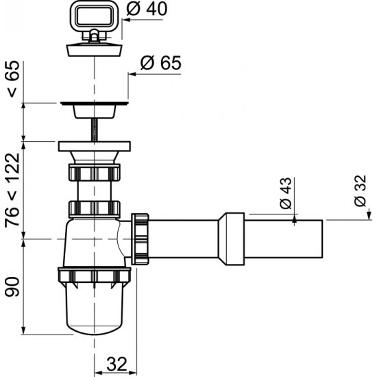 Syfon umywalkowy butelkowy z metalowym sitkiem TYCNER