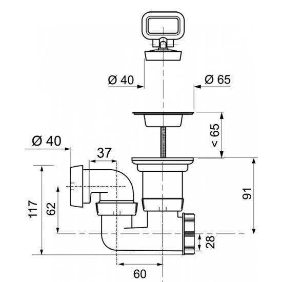Syfon brodzikowy Fi 50mm z korkiem TYCNER