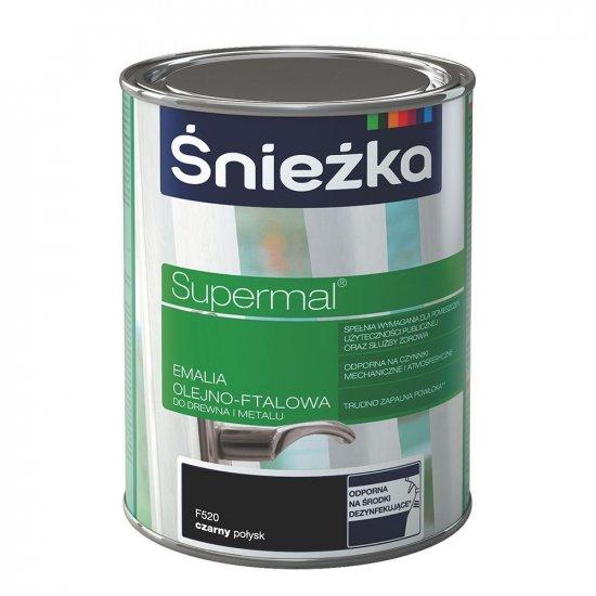 Farba do drewna i metalu Supermal 0,8L czarny ŚNIEŻKA