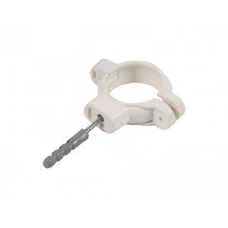 Uchwyt plastikowy do rur 32 mm biały TYCNER