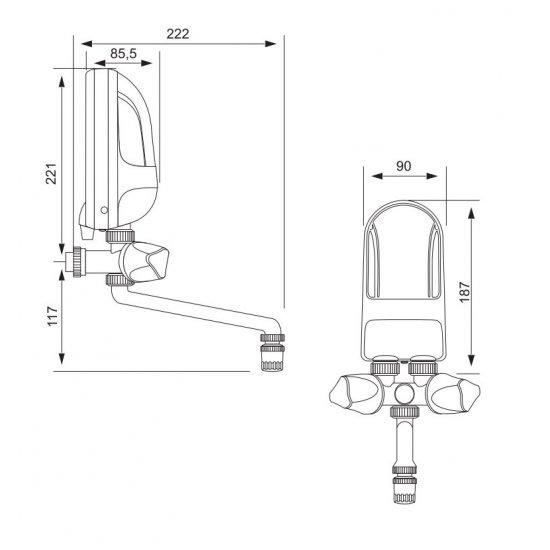 Przepływowy podgrzewacz wody z baterią białą 5,5 kW DAFI